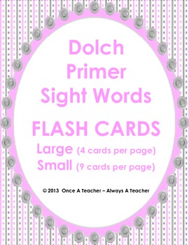 Dolch Sight Word Flash Cards and Posters (Primer Words)