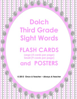 Dolch Sight Word Flash Cards and Posters (Third Grade Words)