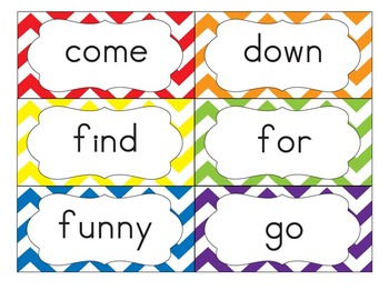 Dolch Sight Word Flash Cards with Nouns 316 cards - Bold Primary Colors