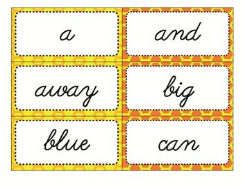 Dolch Sight Word Flash Cards with Nouns 316 cards - Cursive / Bee Theme