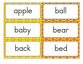 Dolch Sight Word Flash Cards with Nouns 316 cards - Print / Bee Theme