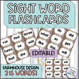 Farmhouse Sight Word Flashcards: Editable