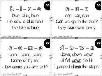 Dolch Sight Word Fluency Cards (PP - 3rd)