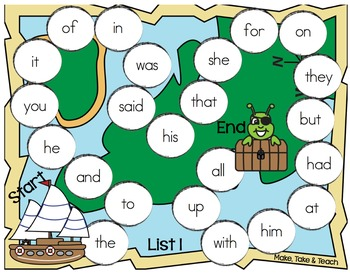 Sight Words - Dolch Sight Word Game Boards