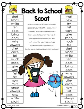 Dolch Sight Word Game Boards {Lists 1-11} Back to School Edition