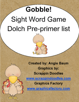 Dolch Sight Word Game - Gobble! Gobble! Turkey Theme