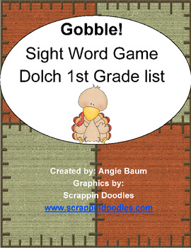 Dolch Sight Word Game - Gobble! Gobble! Turkey Theme 1st Grade List