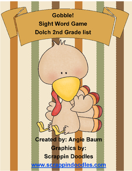 Dolch Sight Word Game - Gobble! Gobble! Turkey Theme 2nd Grade List