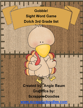 Dolch Sight Word Game - Gobble! Gobble! Turkey Theme 3rd Grade List