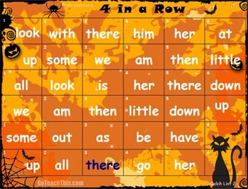 'HALLOWEEN GAME' - Dolch Sight Word Game - Halloween 4 in a Row