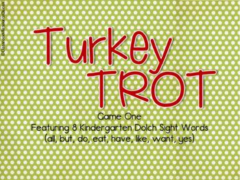 Kindergarten Sight Word Game with Turkey Theme