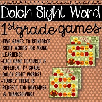 1st Grade Sight Word Games with Turkey Theme