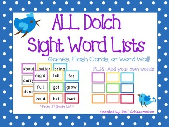Dolch Sight Word Games and Flash Cards BUNDLE