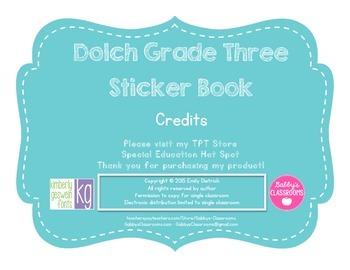 Dolch Sight Word Grade Three Sticker Book