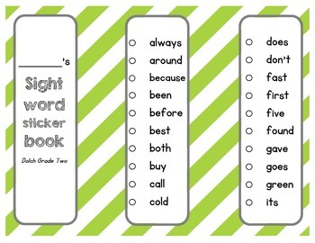 Dolch Sight Word Grade Two Sticker Book