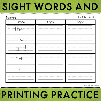 Dolch Sight Word Handwriting Practice Sheets | TpT