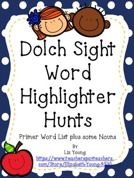 Dolch Sight Word Highlighter Hunts - Primer List