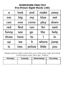 Dolch Sight Word Homework Practice Sheet