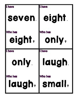 Dolch Sight Word I Have, Who Has (Level 3)