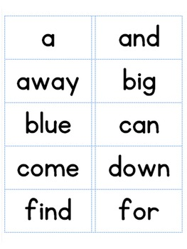 Dolch Sight Word Labels for Word Wall