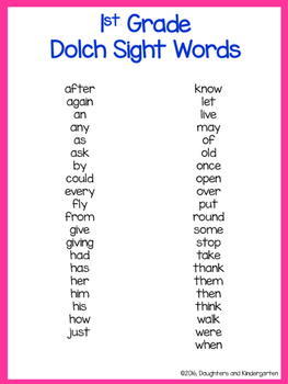 It's just a photo of Dynamic Sight Words for 1st Grade Printable List