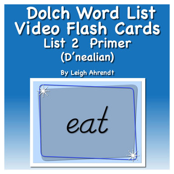 Dolch Sight Word List 2 (Primer) Video Flash Cards (D'nealian)