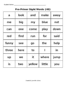 Dolch Sight Word List Progress Monitoring Sheet