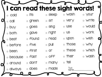 Dolch Sight Word List By Level