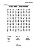 Dolch Sight Word List First Grade Word Searches