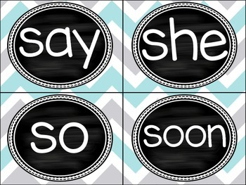 Dolch Sight Word List Pre-Primer and Primer and Word Wall Headers Grey/Teal