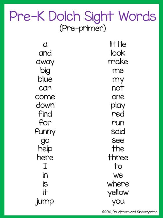 750 2391417 1 - Dolch Sight Word Kindergarten