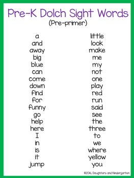 dolch sight word list pre primer