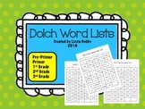 Dolch Sight Word Lists