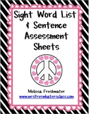 Dolch Sight Word Lists and Sentence Assessment Sheets