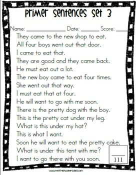 Dolch Sight Word Lists And Sentence Assessment Sheets By