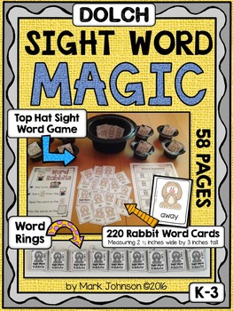 Dolch Sight Word Magic (Word Practice Rings and Top Hat Si