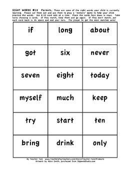 Dolch Sight Word Matching Game(s):  Cards to Send Home