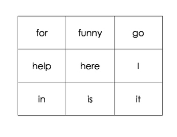 Dolch Sight Word Memory Game