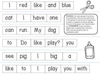 Dolch Sight Word Mixed-Up Sentences Center FREEBIE