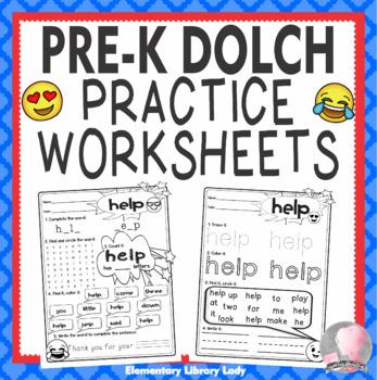 Dolch Sight Word PK Pre-Kindergarten Activities Practice Emoji