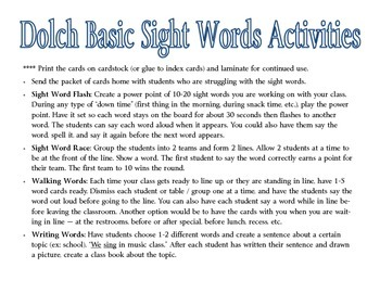 Dolch Sight Word Packet