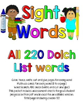 Dolch Sight Word Packet * All levels * 220 Words