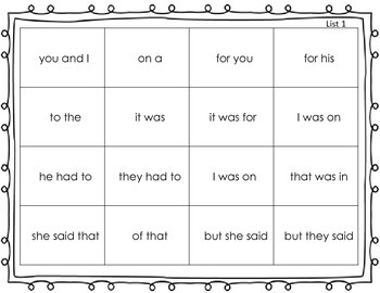 Dolch Sight Word Phrases with QR Codes