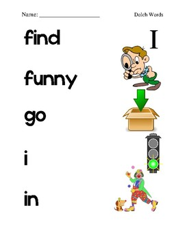 Dolch Sight Word Picture Match (All Levels)