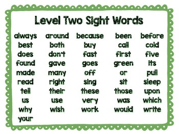 Dolch Sight Word Posters