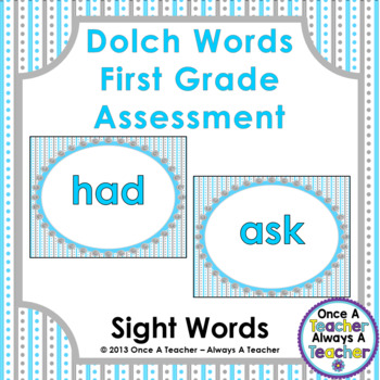 Dolch Sight Word  PowerPoint Assessment and Checklist (First Grade Words)