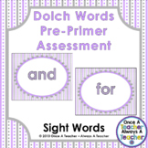 Dolch Sight Word  PowerPoint Assessment and Checklist (Pre-Primer Words)