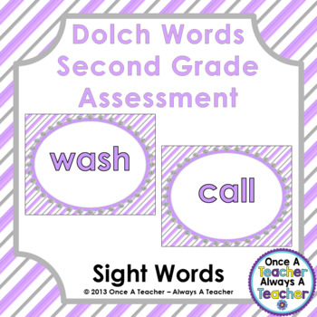 Dolch Sight Word  PowerPoint Assessment and Checklist (Second Grade Words)
