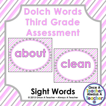 Dolch Sight Word  PowerPoint Assessment and Checklist (Third Grade Words)