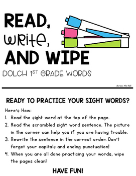 Dolch Sight Word Practice {1st Grade Words}